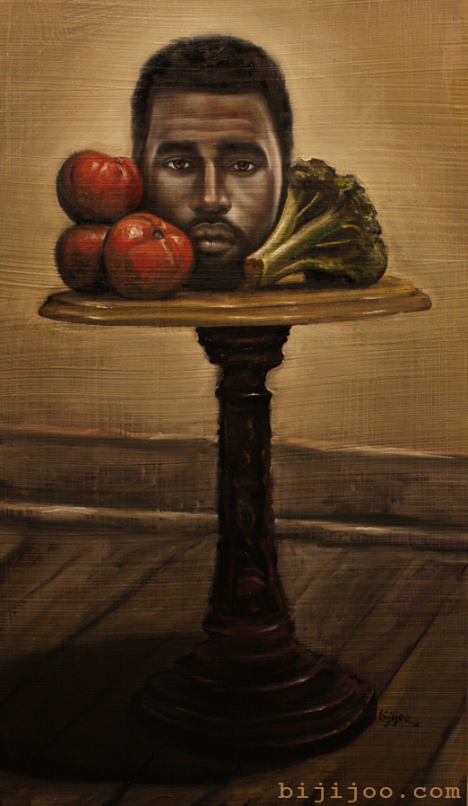 Still Life with Kanye West, Broccoli, and Tomatoes