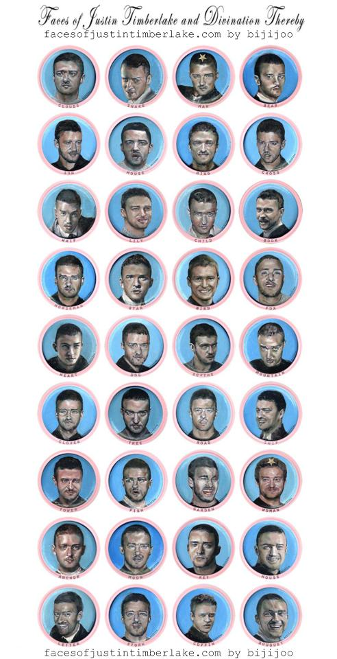 Faces of Justin Timberlake and Divination Thereby