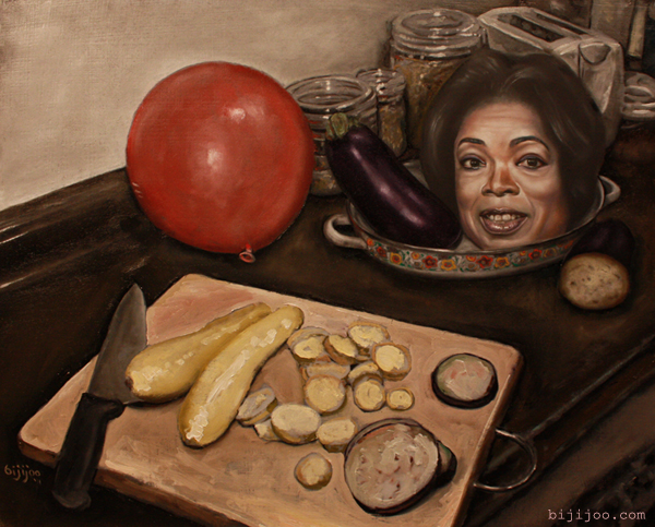 Oprah Winfrey with Eggplant, Squash, and Balloon