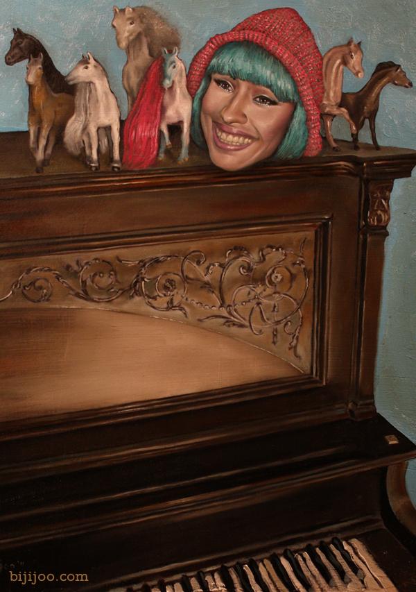 Still Life with Nicki Minaj, Six Horses, and a Piano