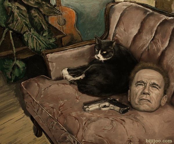 Still Life with Arnold Schwarzenegger, a Gun, and a Cat