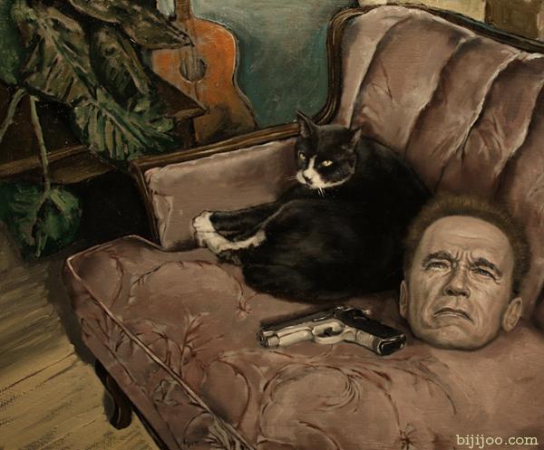 Still Life with Arnold Schwarzenegger, a Gun, and a Cat
