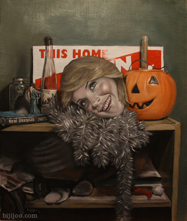 Still Life with Lindsay Lohan and a Jack-o'-Lantern