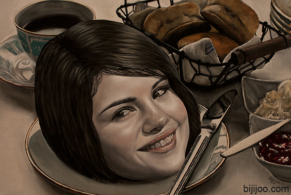 Still Life with Selena Gomez, Tea, and Biscuits