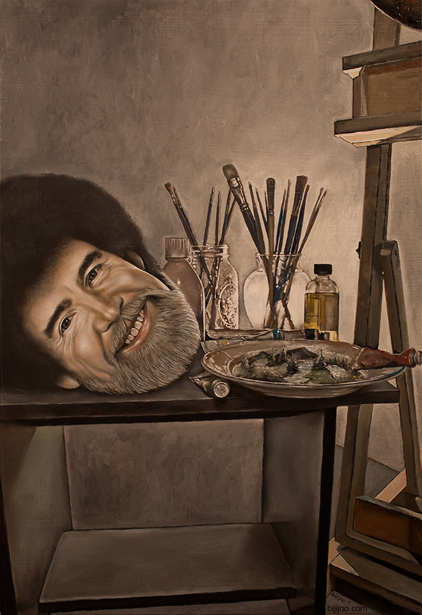 Still Life with Bob Ross, Brushes, Paint, Little Trees, and an Easel